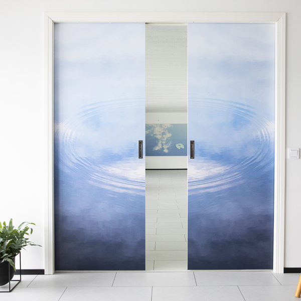 Liune double doors magnet print picture waterdrop