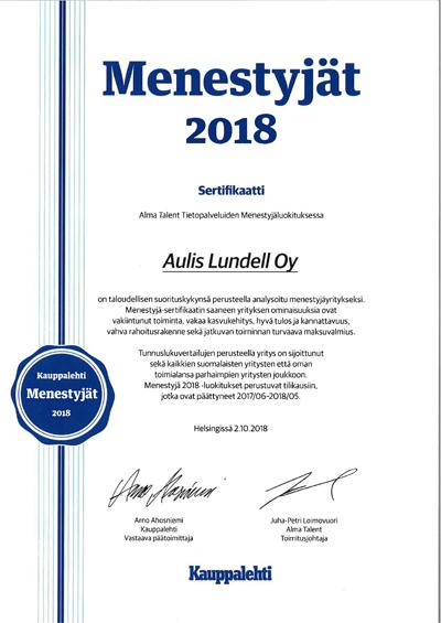 Vuoden Menestyjät 2018 Kauppalehti Aulis Lundell Oy